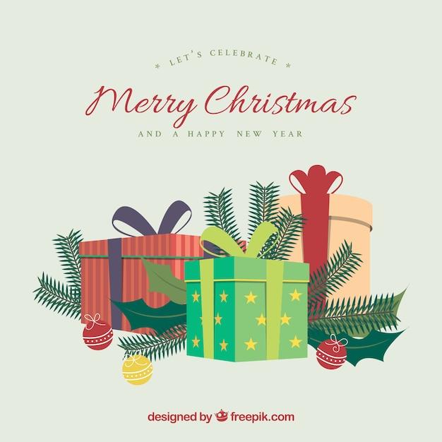 Geschenke der frohen Weihnachten Hintergrund Kostenlose Vektoren
