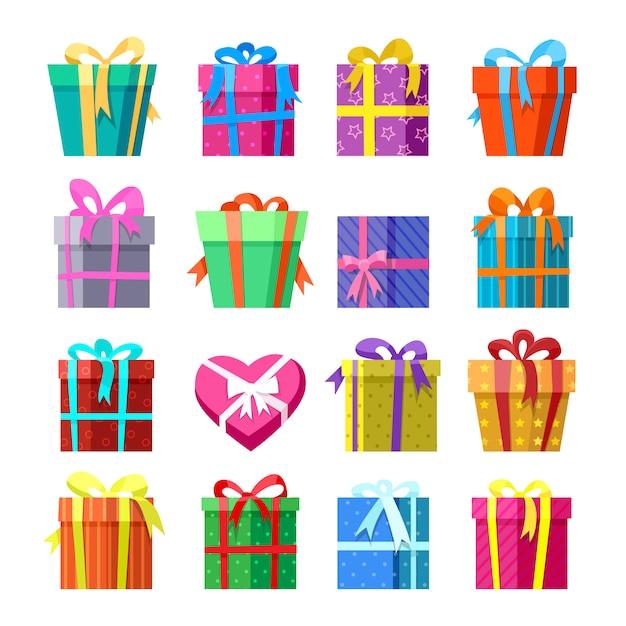 Geschenke oder geschenkboxen icocns eingestellt Premium Vektoren