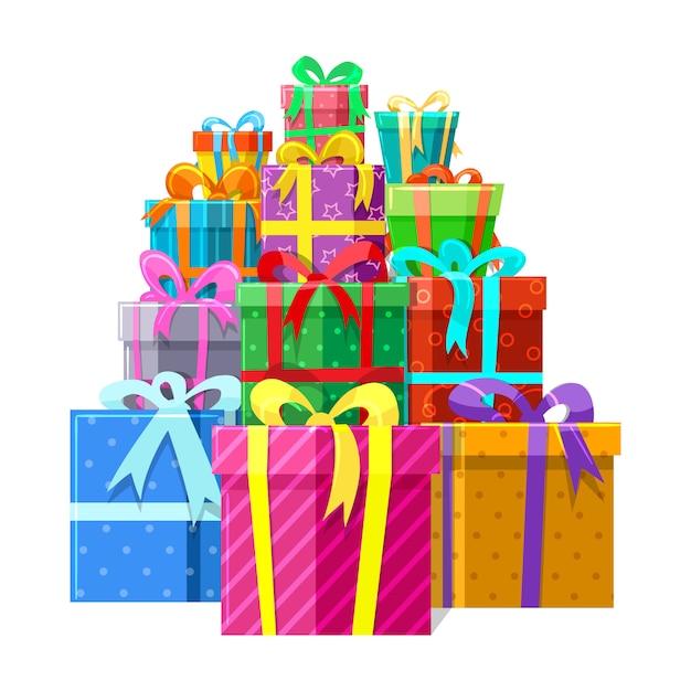 Geschenke oder geschenkboxen stapeln sich Premium Vektoren