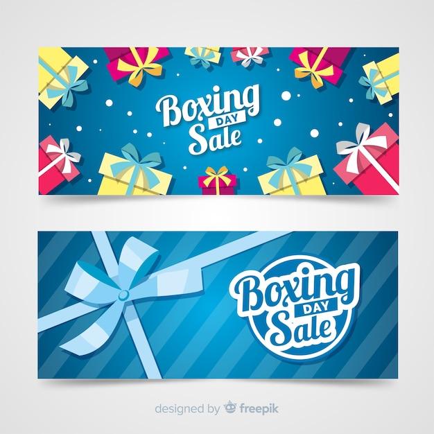 Geschenkgruppe boxing day vorlage banner Kostenlosen Vektoren