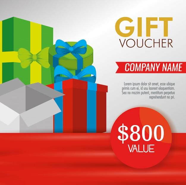 Geschenkgutschein mit geschenken und sonderrabatt Kostenlosen Vektoren