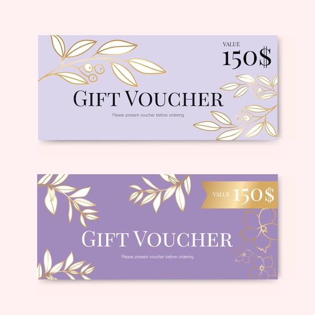 Geschenkgutschein mit goldener blume Premium Vektoren