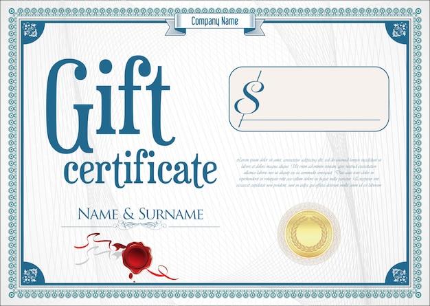 Geschenkgutschein mit goldener siegel- und designgrenze Premium Vektoren