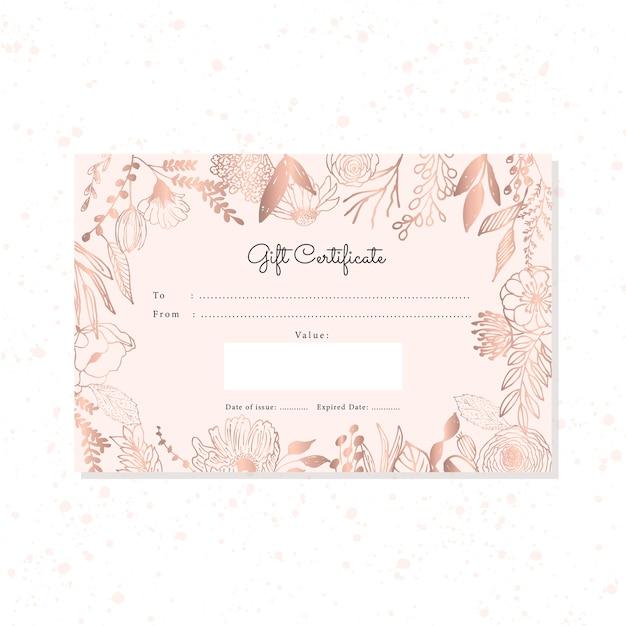 Geschenkgutschein mit hand gezeichnetem rosengoldblumenhintergrund Premium Vektoren