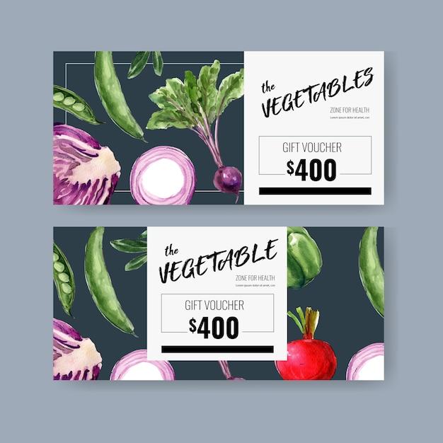 Geschenkgutschein pflanzliche aquarellfarbe sammlung. organische gesunde illustration des neuen lebensmittels Kostenlosen Vektoren
