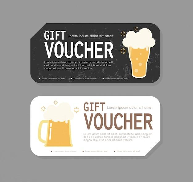 Geschenkgutschein-schablonendesign für die eröffnung der bierparty, rabatt-geschenkgutschein mit einem becher freibier zur steigerung des bierverkaufs in bar und café, sonderangebot oder gutscheinabbildung Premium Vektoren