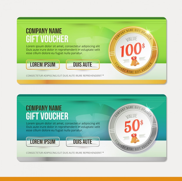 Geschenkgutschein vorlage. sauberes und modernes illustrationsdesign. coupon. Premium Vektoren
