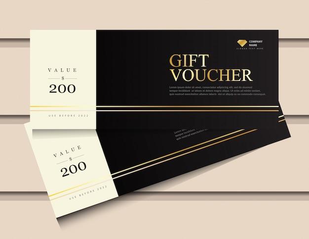 Geschenkgutscheinschablone mit glitzergold-luxuselementen. Premium Vektoren