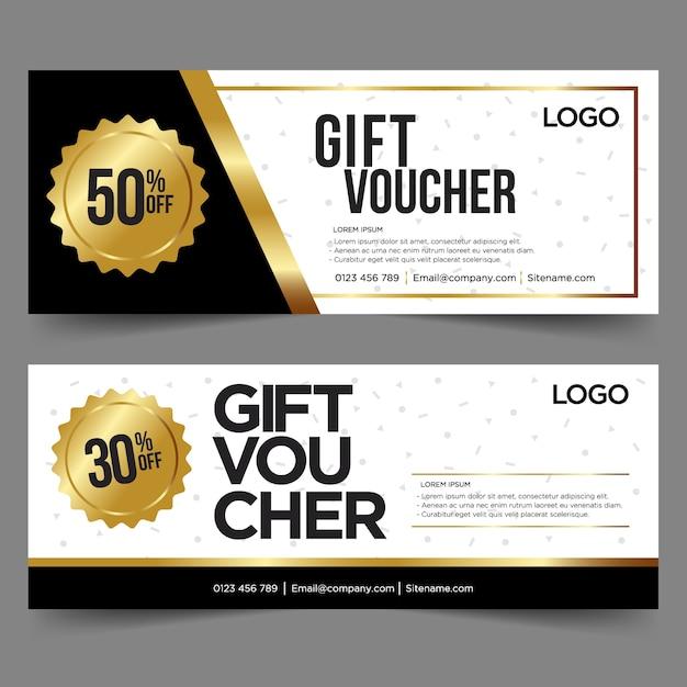 Geschenkgutscheinschablone mit gold und schwarzem hintergrund Premium Vektoren
