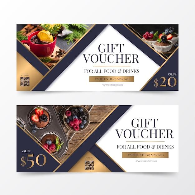 Geschenkgutscheinvorlage mit foto von speisen und getränken Kostenlosen Vektoren