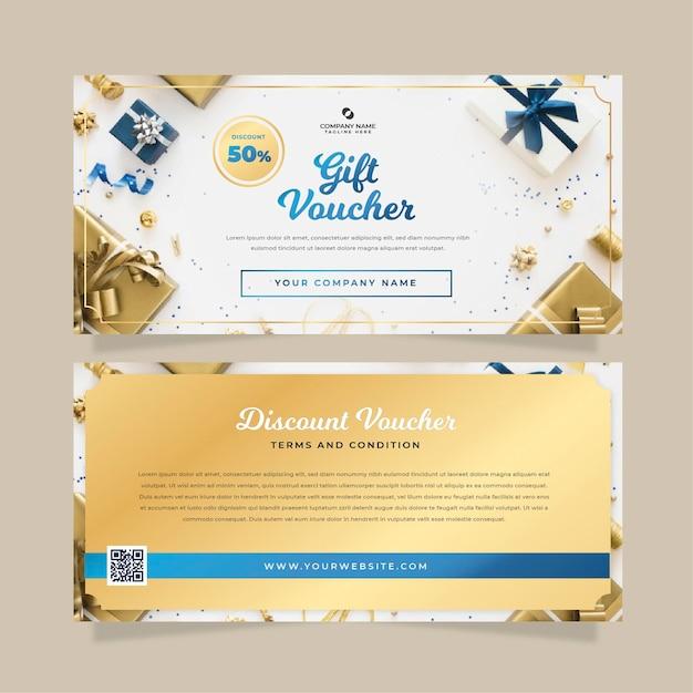 Geschenkgutscheinvorlage mit foto Kostenlosen Vektoren