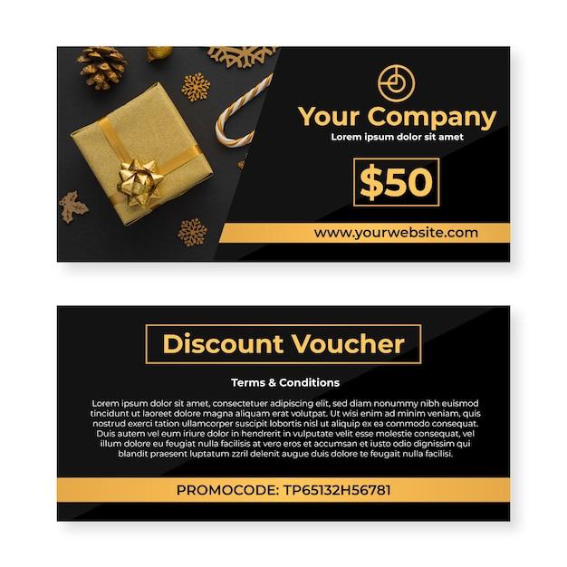 Geschenkgutscheinvorlage mit geschenkboxfoto Kostenlosen Vektoren
