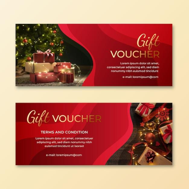 Geschenkgutscheinvorlage mit geschenkfoto Kostenlosen Vektoren