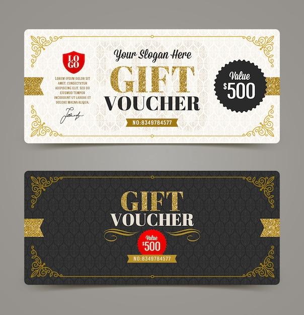 Geschenkgutscheinvorlage mit glitzergold. illustration. Premium Vektoren