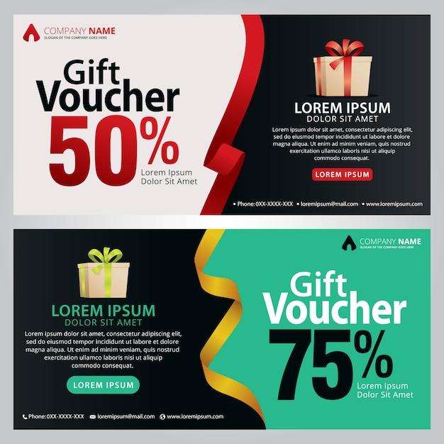Geschenkgutscheinvorlage mit sauberem und modernem muster. Premium Vektoren