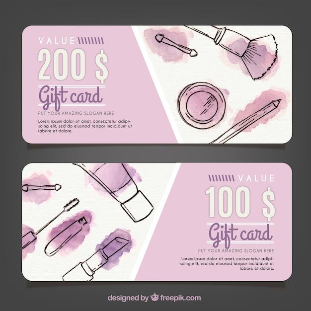 Geschenkkarten make-up skizzen mit aquarellflecken Kostenlosen Vektoren
