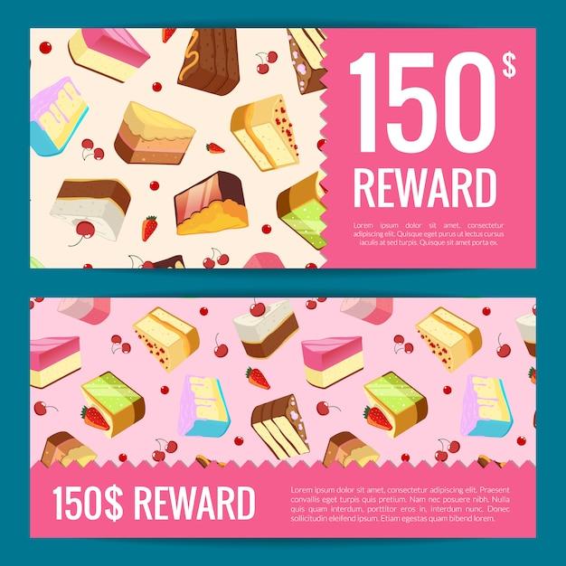 Geschenkkarten, rabatte oder gutscheinvorlagen mit kuchenstücken, kirschen und erdbeeren auf. kuchen-karten-gutschein, banner angebot geschenk für café Premium Vektoren