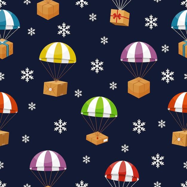 Geschenklieferung im winterhimmel mit schneeflocken. geschenke fallschirm. Kostenlosen Vektoren