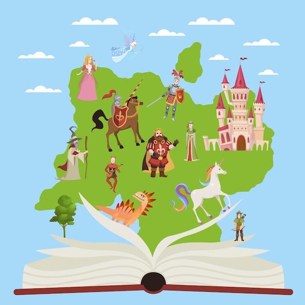 Geschichtenbuch. kinderpädagogische bücher mit geschichten märchen- und fantasiefiguren für fantasie, die vektorillustration liest Premium Vektoren
