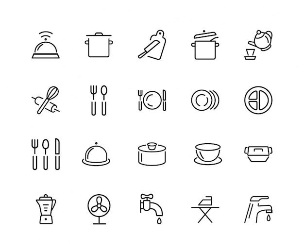 Geschirr-icon-set Premium Vektoren