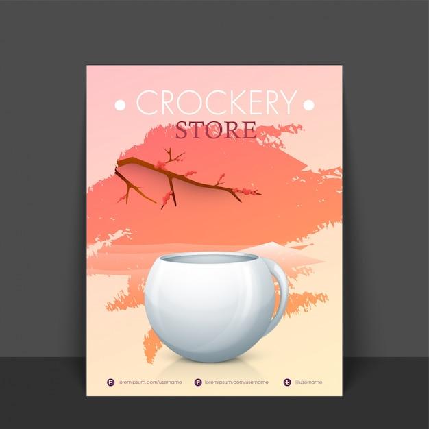 Geschirr-Shop Flyer, Schablone oder Banner-Design mit abstrakten ...