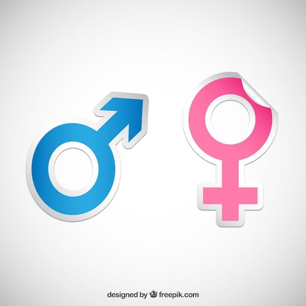 Geschlecht symbol aufkleber Kostenlosen Vektoren