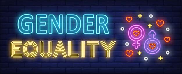 Geschlechtergleichstellung neon text mit männlichen und weiblichen geschlechtssymbolen Kostenlosen Vektoren