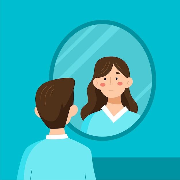 Geschlechtsidentität mit person, die in den spiegel schaut Premium Vektoren