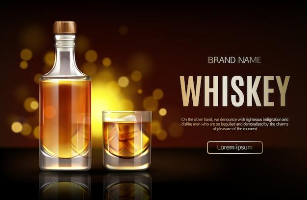 Geschlossene leere flasche mit starkem alkoholgetränk stehen auf dunkelheit Kostenlosen Vektoren