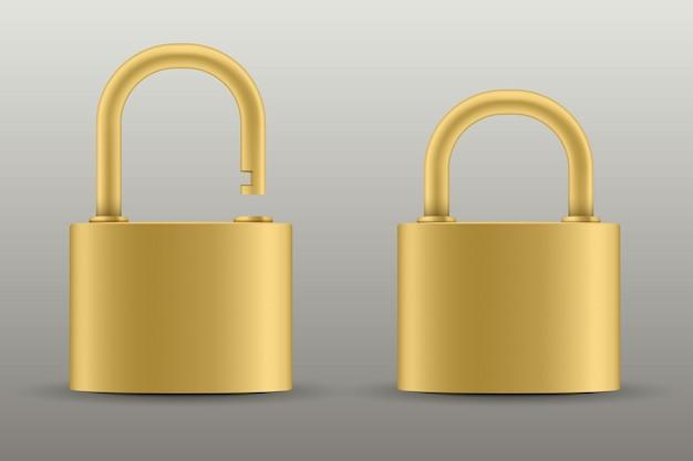 Geschlossenes vorhängeschloss zum schutz, metallstahlschloss. Premium Vektoren