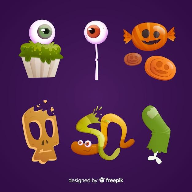 Geschmackvolle bonbons für halloween-nacht Kostenlosen Vektoren