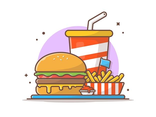 Geschmackvoller kombinierter kindermahlzeit-menü-käse-burger mit pommes-frites und soda-ikonen-illustration Premium Vektoren