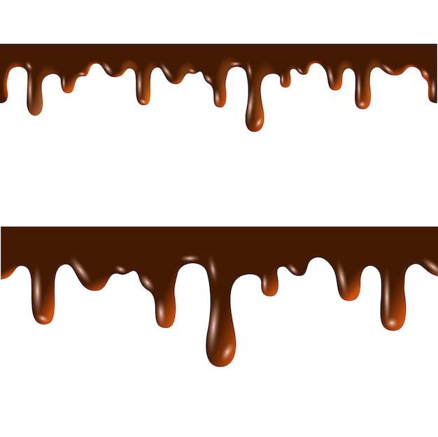 Geschmolzene schokolade nahtlose grenzen mit schnittmaske Premium Vektoren