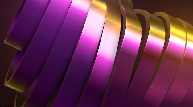 Geschnittene gewellte oberfläche. abstrakter hintergrund von gold und purpur mit dünnfilmreflexionseffekt. illustration Premium Vektoren