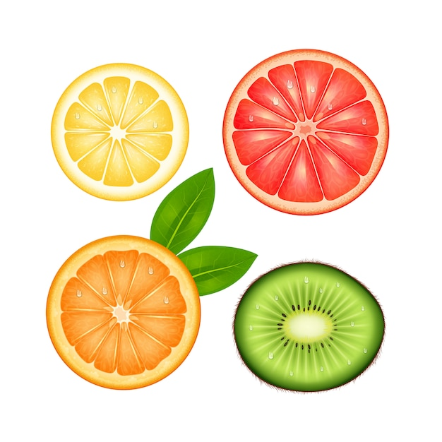 Geschnittener draufsichtsatz der früchte der zitronenpampelmusenorange und -kiwi Kostenlosen Vektoren