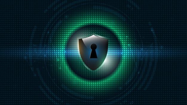 Geschütztes schutzschild-sicherheitskonzept security cyber Premium Vektoren