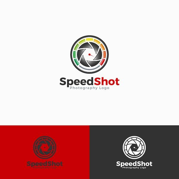 Geschwindigkeit schuss logo vorlage Premium Vektoren
