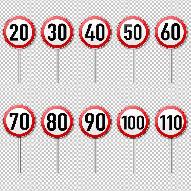 Geschwindigkeitsbegrenzungszeichensatz isoliert transparenter hintergrund Premium Vektoren