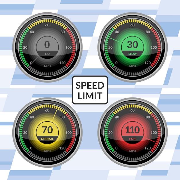 Geschwindigkeitsmesser auto geschwindigkeit dashboard panels vektor-illustration satz geschwindigkeitsbegrenzung steuerungstechnik messgerät mit pfeil oder zeiger. Premium Vektoren