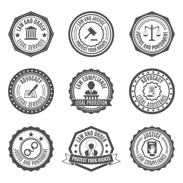 Gesetz abzeichen gesetzt Premium Vektoren