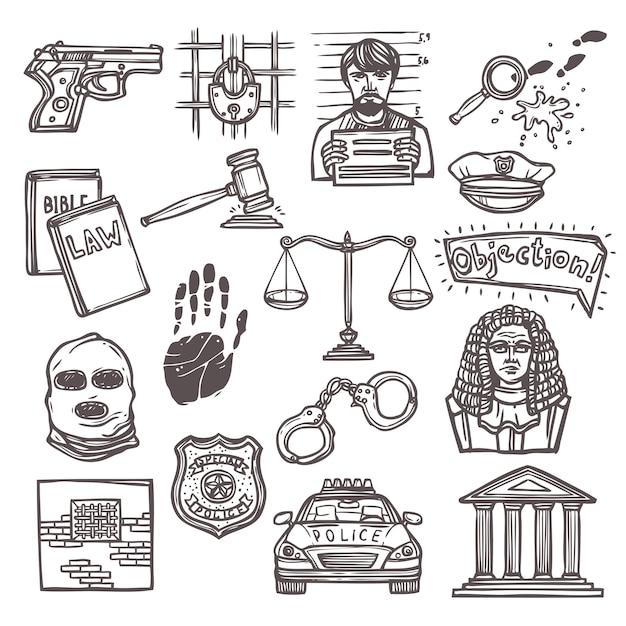 Gesetz symbol skizze Premium Vektoren