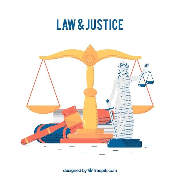Gesetz und Gerechtigkeitskonzept Kostenlose Vektoren