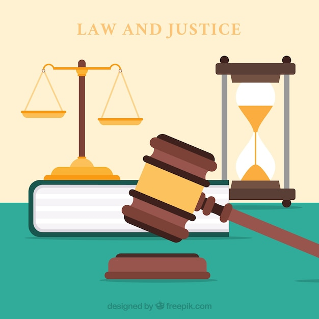Gesetzes- und gerechtigkeitskonzept mit flachem design Kostenlosen Vektoren