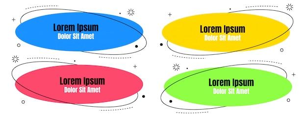 Gesetzte abstrakte bunte flüssigkeit geometrisch für fahne Premium Vektoren