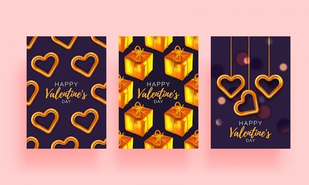 Gesetzte broschüre des liebeshintergrundes. geschenk-poster-karte. verkaufsfahnenschablone für valentinstag. banner mit herzen und geschenken. Premium Vektoren