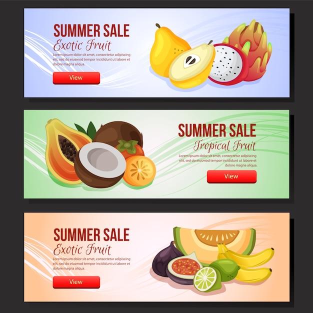 Gesetzte exotische frucht der bunten sommerschlussverkauffahnen-schablone Premium Vektoren