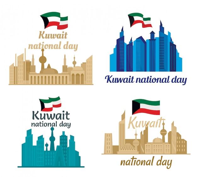 Gesetzte flache art des kuwait-turmskyline-fahnen-konzeptes Premium Vektoren