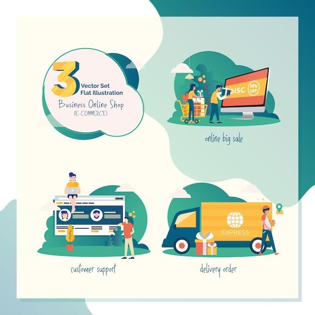 Gesetzte flache illustration mit 3 vektoren für marketing oder e-commerce Premium Vektoren