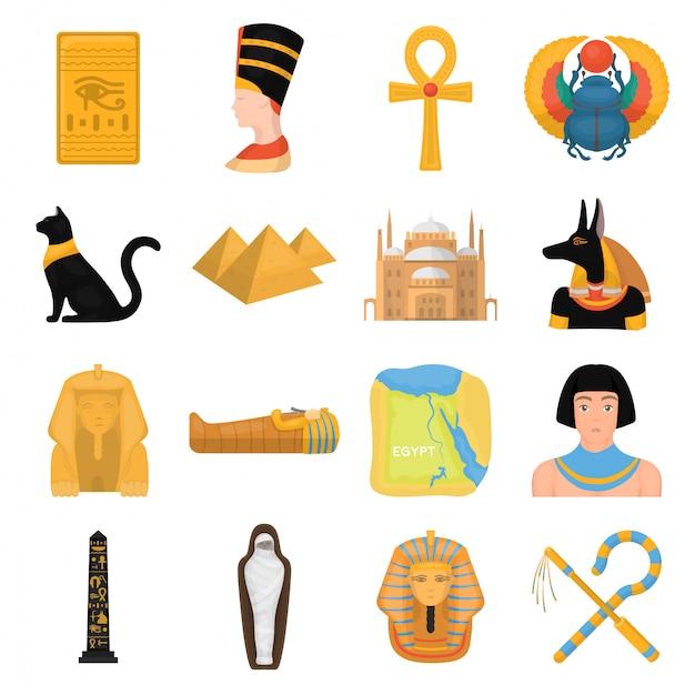 Gesetzte ikone der alten ägypten-karikatur. getrennter gesetzter ikonen-alter ägypter der karikatur. abbildung alten ägypten. Premium Vektoren