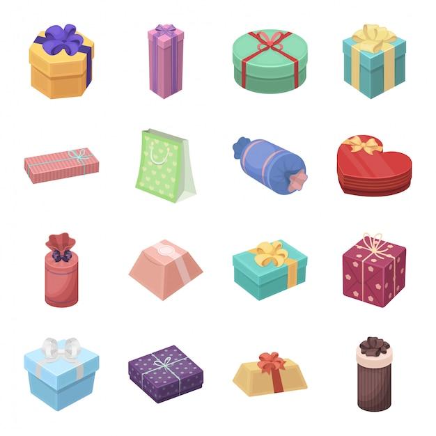 Gesetzte ikone der geschenk- und zertifikatkarikatur. abbildung weihnachtsbox. lokalisiertes gesetztes ikonengeschenk und -zertifikat der karikatur. Premium Vektoren